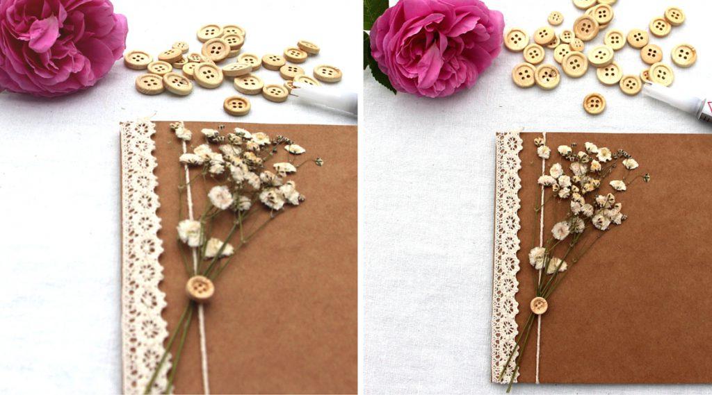 Holzknöpfe, Spitze und Schleierkraut sind schöne Zutaten für eine Einladungskarte.
