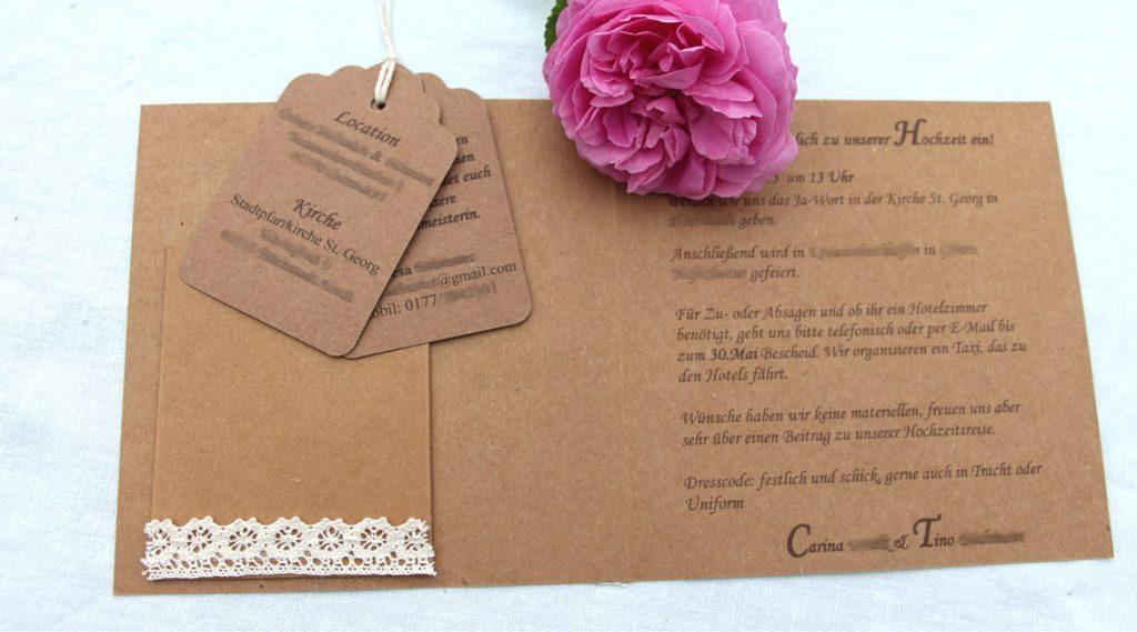 Einladungskarte für die Hochzeit selbstgemacht.