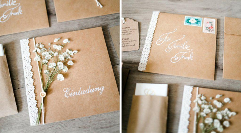 Einladungskarten für die Hochzeit mit Pflanzen im Vintage Stil.